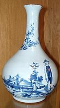 An English Delft blue and white bottle vase, possibly Liverpool,
