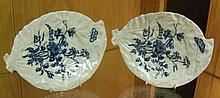 Two similar late 18th century Worcester blue and white leaf shaped dishes