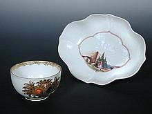 A mid 18th century Meissen armorial tea cup