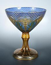 A late 19th/early 20th century Bohemian blue and amber tazza,