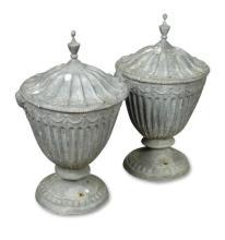 A pair of lead urn gate finials (2)