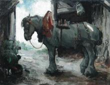 § Maude Marshall (British, 20th Century) A grey heavy horse in harness in a stable signed low...