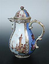A19th century Meissen coffee pot and cover,