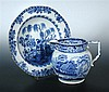 Twelve Cambrian Pottery blue and white plates and a Rodgers jug,