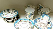 Nine mid Victorian 'Sevres' coffee cups and saucers