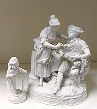 A Meissen white glazed group and a 'Naples' figure,
