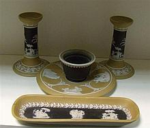 A late 19th/early 20th century Wedgwood jasper four piece desk set,
