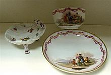 A Marcolini Meissen cup and saucer together with a dot period butter shell,
