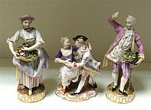 A pair of Samson 'Meissen ' figures and a Dresden group,