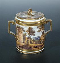 A late 18th century Derby chocolate cup and cover,
