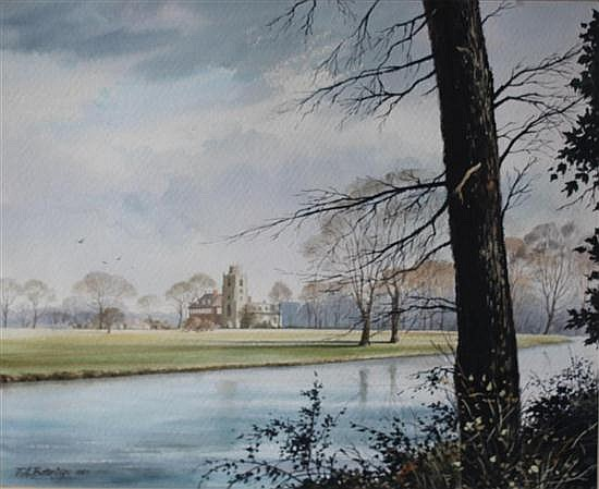Fred A Betteridge (British, 20th Century) Hemingford Grey from the River signed lower left