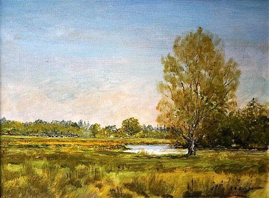 John Elvy (British, 19th-20th Century) -  A Hemingford Backwater, Huntingdon signed bottom right