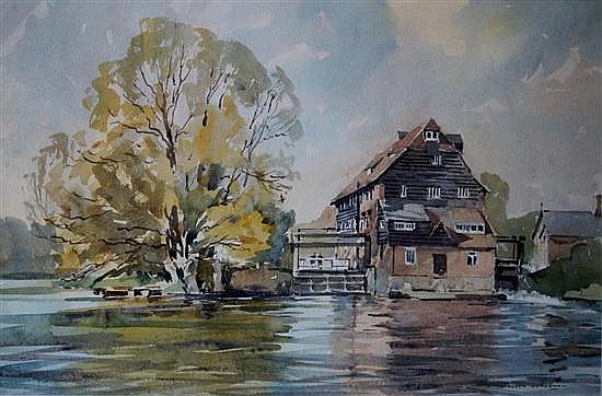 David Green British (20th Century) Houghton Mill, Huntingdon s- watercolour