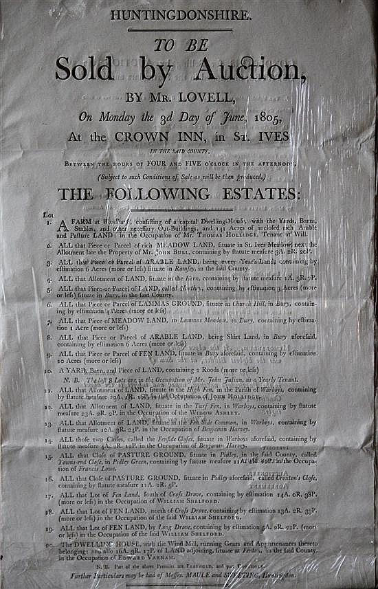 Auction Notice - St Ives, 1805, of Various local Estates