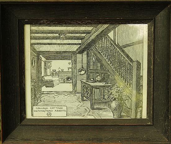 V H - College Cottage, Hemingford Abotts, wood block print, 16 x 19.5cm