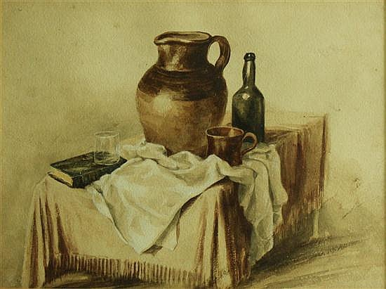 Peter de Wint (1784-1849) - Still Life of Jug and Bottle - watercolour