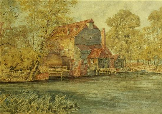English School  - Hemingford Mill - watercolour
