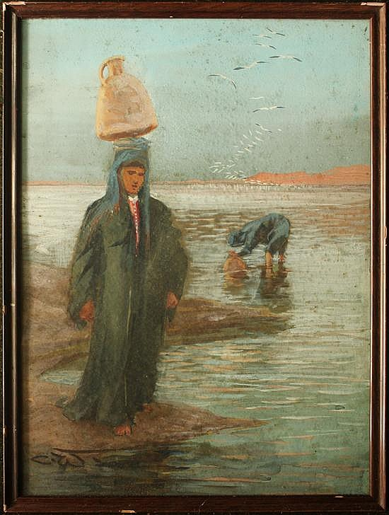 Charles Whymper (British, 1853-1941) - An Arab Water Carrier - watercolour