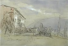 Edward Lear (British, 1812-1888) View of Mopolino, pen, ink and wash