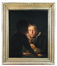 Circle of Henry Morland (British, circa 1716-1797) Two boys with a guinea pig, oil on canvas