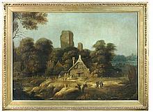 Circle of Esaias van de Velde the Elder (Dutch, 1587-1630) Travellers in an Italianate landscape, oil on canvas