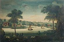 Circle of William Watkin (English, 18th Century) - River scene with a sportsman with hounds, oil on canvas