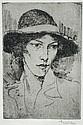 § Augustus Edwin John, OM, RA (British, 1878-1961) - A Girl's Head - etching