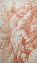 Flemish School (18th Century) - A Putto holding a Torch - red chalk
