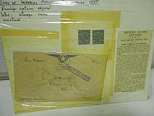 Stamps, mixed 20th century, including early air mail, Cygnus Flying Boat crash 1937 at Brindisi salvaged mail with cachet, and a few...
