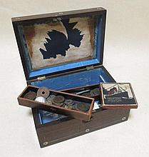 An RMS Lusitania medal, boxed and a quantity of various other coins