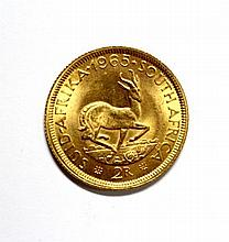 South Africa - gold 2 Rand coin, 1965,