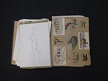A folio and a box of assorted antique prints, watercolours, drawings and photographs