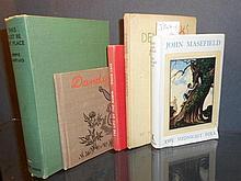Literature, various. MASEFIELD (John) The Midnight Folk, 1949, original watercolour sketch of a sailing ship with birthday ins...