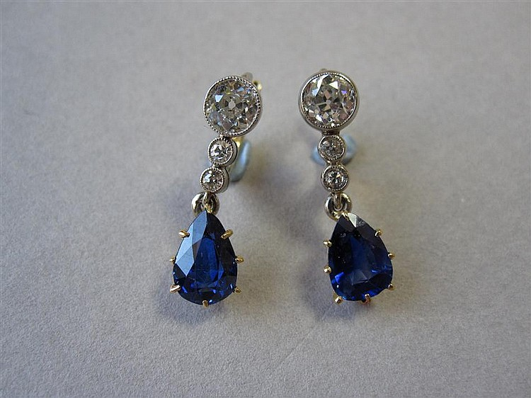 A pair of diamond and sapphire eardrops,