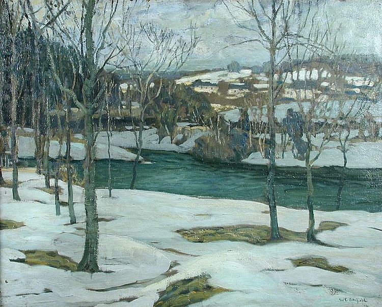 § Walter Elmer Schofield (American, 1867-1944)    - River in Snow  - oil on canvas