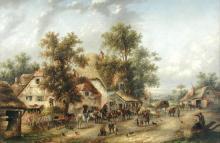 Edward Masters (British, fl.1869-1875) Scenes of village life outside an inn, near Oakley, Basingstoke