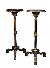 A pair of William and Mary revival walnut torchere, circa 1900