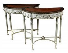 A pair of demi-lune satinwood console tables, circa 1880