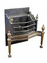 A George III style serpentine cast iron fire grate,