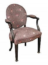 An 18th century mahogany salon chair,