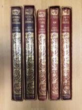 AUSTEN (Jane) Works, five volumes, limp leather bindings, Macmillan editions, c. 1930s, some chipping to spines