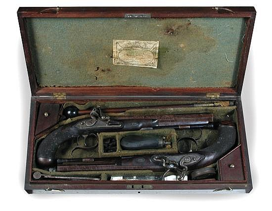 Samuel Henry Staudenmayer, a cased pair of Regency flintlock duelling pistols,