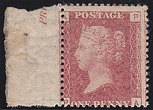 1d plate 133, unmounted mint (PA) with marginal inscription,
