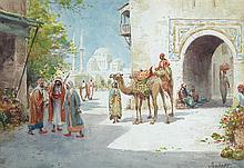 Jaubert (French, 1850-1913) Arab market street scenes signed