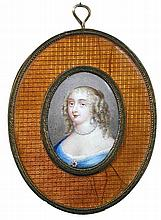 Manner of Jean Petitot (French, 1607-1691) A pair of oval enamel miniatures of Madame de Montespan and the Marquise de Maintenon, th...