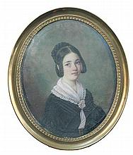 Jacques Savella (French, 19th century) An oval portait miniature of Mademoiselle de Rumlingen, wearing a black dress with pale pink...