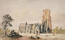 Circle of Richard Bankes Harraden (British, 1778-1862) View of Grantchester Church, Cambridge signed lower right indistinctly with i...