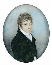 Andrew Plimer (British, 1763-1837) A portrait miniature of a Gentleman, he wears a green coat with brass buttons and black velvet co...