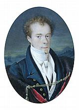 English School  - Portrait of a Gentleman, a ship beyond - signed indistinctly centre right