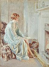 Fred Pegram (British, 1870-1937) Resting by the fire signed lower left